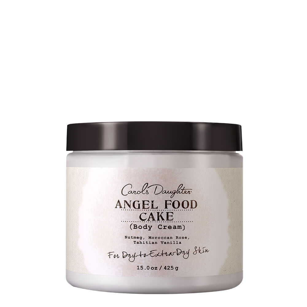 "Wrap yourself up in the delicious scent of Angel Food with this lightweight body cream. With its blend of coconut and sunflower oils, it helps soothe dry skin without feeling greasy. Powerful Ingredients At Work: Sunflower SeedCoconut OilSoybean OilNo Parabens, No Petroleum, No Mineral Oil, No Artificial Colors ""This scrumptious-smelling fragrance unveils the true scent of love. Nothing shows someone how much you love them more than a homemade cake that you put your heart and soul into. The sweet blend of Tahitian Vanilla and Nutmeg with just a swirl of Morrocon Rose offers true aromatherapy that entices your senses. You'll crave this for your body the same way you crave that luscious piece of cake."" -Lisa Price, Carol's Daughter Founder"