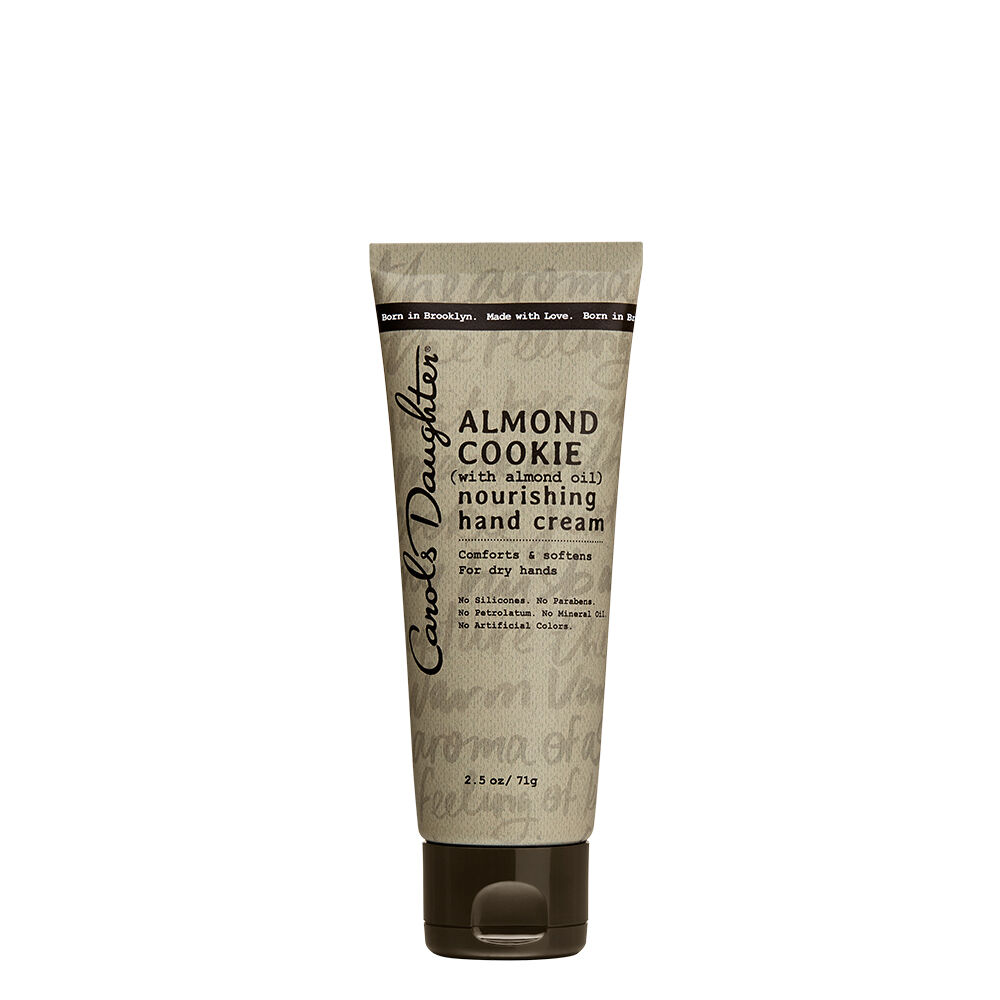 "Comforts & SoftensNo Silicones. No Parabens. No Petrolatum. No Mineral Oil. No Artificial Colors. The Almond Cookie RecipeBlended with Almond Oil and carefully selected ingredients, this comforting hand cream nourishes and softens hands. Made with love, it instantly absorbs into skin without leaving behind a greasy or sticky feel. The Almond Cookie Story""The fragrance Almond Cookie was born on a Sunday afternoon when my husband brought home an almond cookie just for me, just because. Notes of Marzipan, Tonka Bean and Warm Vanilla perfectly capture the feeling of knowing that you're loved."" -Lisa Price, Carol's Daughter Founder"