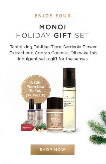 Enjoy your Monoi Holiday Gift Set. Tantalizing Tahitian Tiare Gardenia Flower Extract and Coprah Coconut Oil make this indulgent set a gift for the senses.